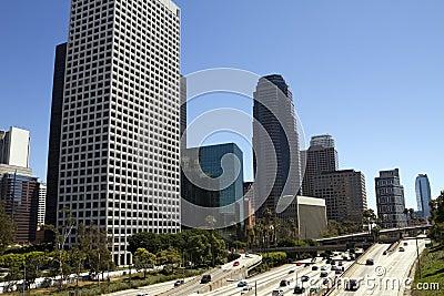 Weekend Traffic Through Downtown Los Angeles