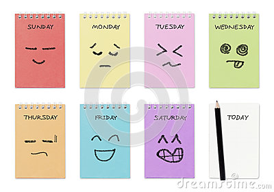 Weekly calendar with face drawing