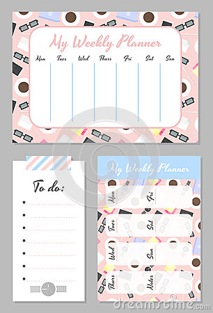 Free Weekly Planner Template. Organizer And Schedule With Place For Notes And To Do List. Royalty Free Stock Photography - 86524407
