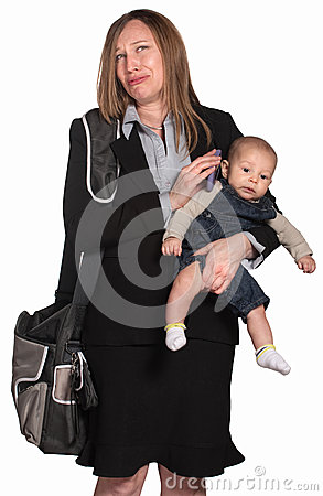 Weeping Businesswoman with Baby