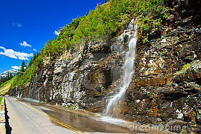 Weeping Wall, Glacier National Park, Montana Stock Images - Image: 20267804