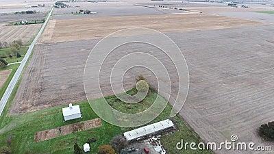 Weergeven van de gebieden van het landbouwgrondgewas in Midwesten Verenigde Staten, Illinois stock videobeelden