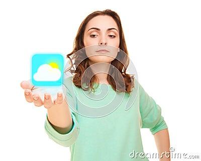 Weerpictogram op de hand van de vrouw