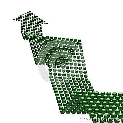 Weg aan succes (groene omhooggaand arrrow)