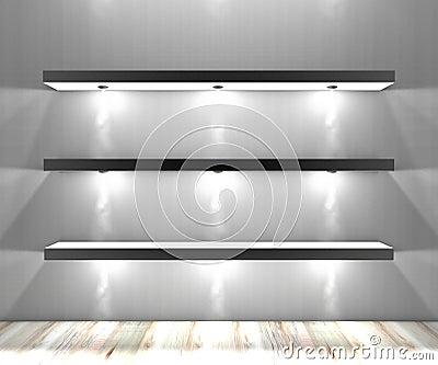 wei e regale mit lichter belichteten scheinwerfern stockfotografie bild 35584692. Black Bedroom Furniture Sets. Home Design Ideas
