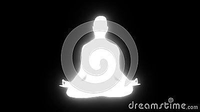 Weiße Silhouette einer meditierenden Person mit blinkendem, verzerrendem Glühen in nahtlosem Schlaufen stock footage