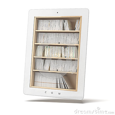 Weiße Tablette mit Bücherregal
