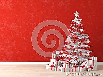 wei er weihnachtsbaum auf roter wand stockfoto bild. Black Bedroom Furniture Sets. Home Design Ideas