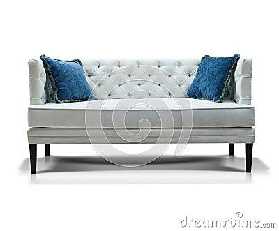 wei es sofa mit zwei blauen kissen stockfotografie bild. Black Bedroom Furniture Sets. Home Design Ideas