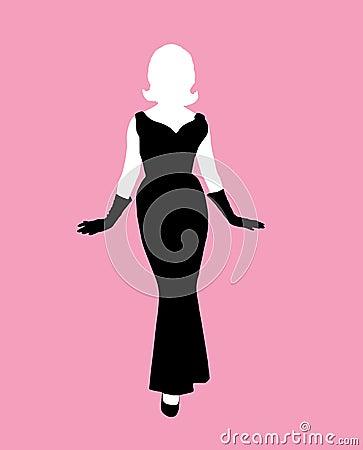 Weibliches Schattenbildschwarzkleid