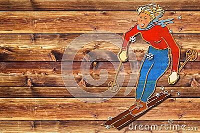 Weibliches Skifahrerdunkelheitsbrett