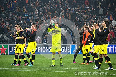 Weidenfeller and Borussia Dortmund to thank their fans for their support Editorial Photography