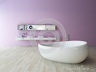 Weiße badewanne gegen violette wand stock abbildung   bild: 41133738