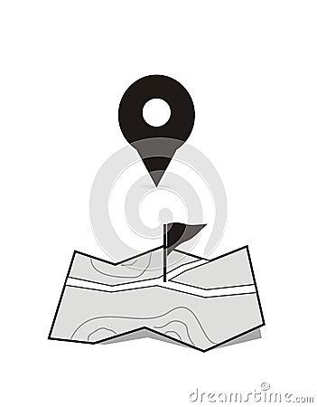Weiße getrennte Standortmarken