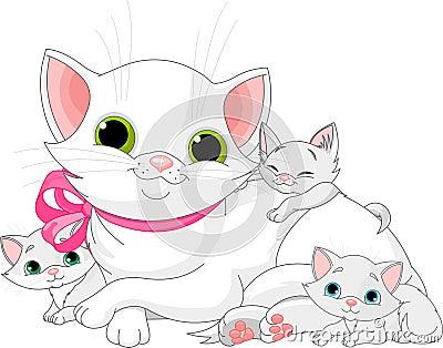 Weiße Katzefamilie