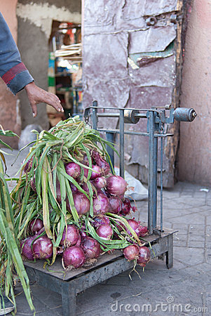 Fresh red onions at the market