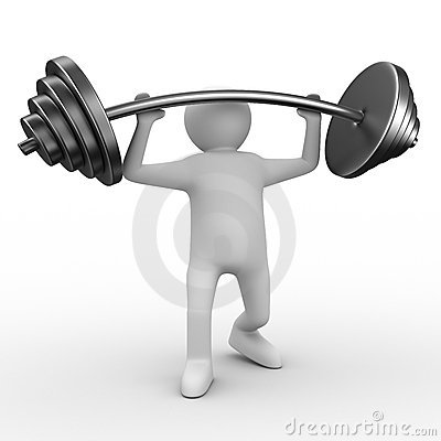 Weight-lifter lifts barbell on white
