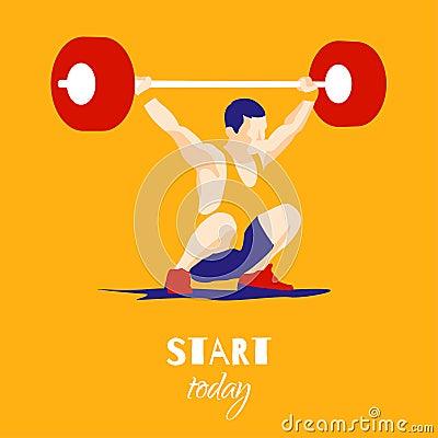 Free Weight Lifting Athlete And Motivational Slogan. Royalty Free Stock Photo - 71688045