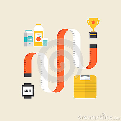 Free Weight Loss Flat Illustration Concept Royalty Free Stock Photography - 41023737