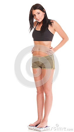 Weight loss woman on scale unhappy