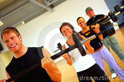 Weight training in a fitness center