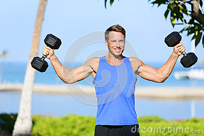 Weight training Fitness man with dumbbell weights