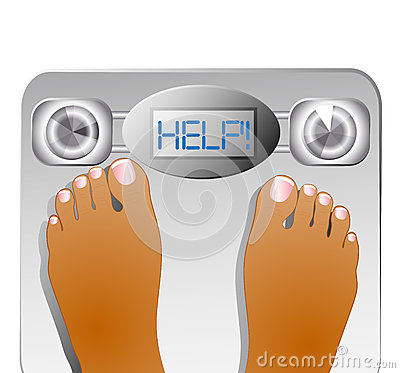 Weighting themselves on a scale