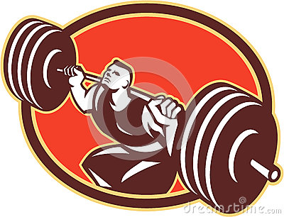 Weightlifter Lifting Barbells Retro