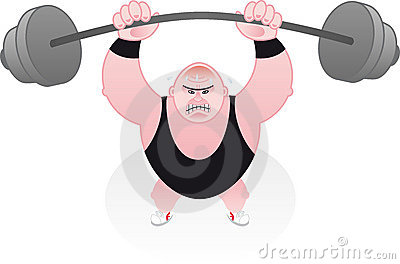 Weightlifter straining under his weights