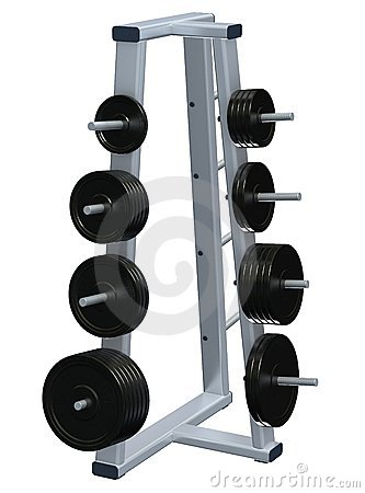 Weightlifting discs on rack