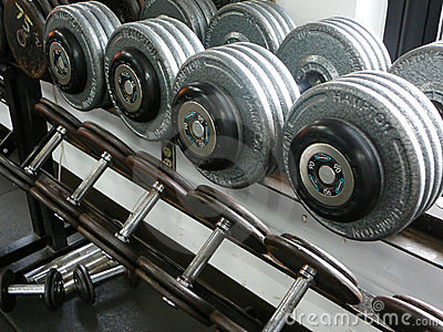 Weightlifting Dumbbells on a rack