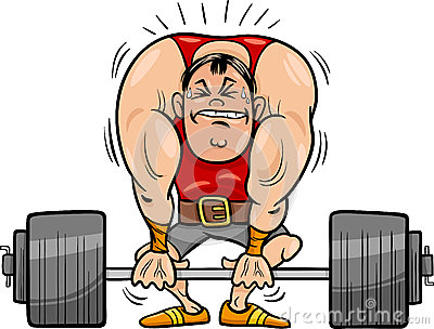 Weightlifting sportsman cartoon illustration