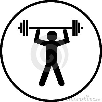 Weights lifting body builder symbol vector