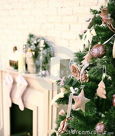 Kamin mit weihnachtssocken vektor abbildung   bild: 62153854