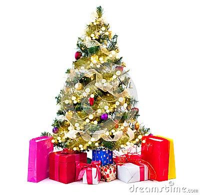 weihnachtsbaum verziert mit flitter girlanden und. Black Bedroom Furniture Sets. Home Design Ideas