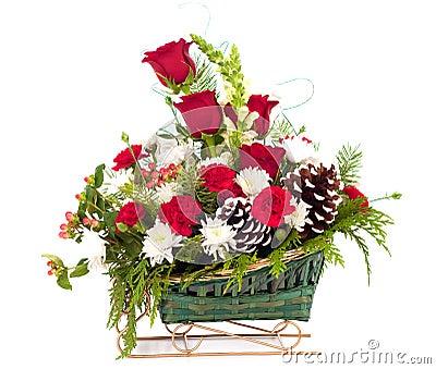 weihnachtsblumenstrau von blumen im pferdeschlitten korb stockfotografie bild 30590272. Black Bedroom Furniture Sets. Home Design Ideas