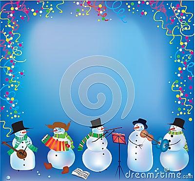 Weihnachtshintergrund mit lustigen Schneemännern