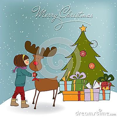 Weihnachtskarte mit netter Liebkosung des kleinen Mädchens ein Zügel