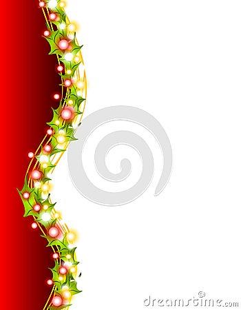 Weihnachtsleuchten und Stechpalme-Rand 2