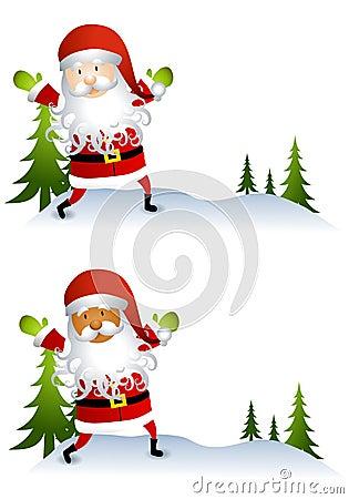 Weihnachtsmann-Karikaturen