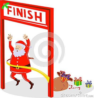 weihnachtsmann laufende ziellinie stockbilder bild 9458974. Black Bedroom Furniture Sets. Home Design Ideas
