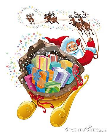 Weihnachtsmann mit Geschenk.