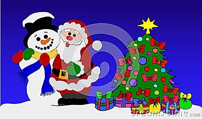 weihnachtsmann und schneemann mit weihnachtsbaum. Black Bedroom Furniture Sets. Home Design Ideas