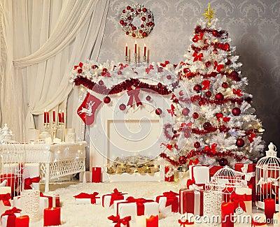 Weihnachtsraum Innen, Weißer Weihnachtsbaum, Kamin-Dekoration ...