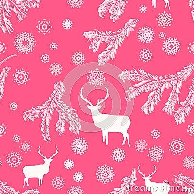 Weihnachtsrotwild, nahtlose Illustration. ENV 8