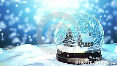 Weihnachtsschnee-Kugel Schneeflocke der Schleifen-4K fähige mit Schneefällen auf blauem Hintergrund