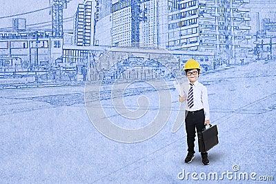 Weinig ingenieur op blauwdrukachtergrond