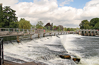 Weir on the River Thames in England