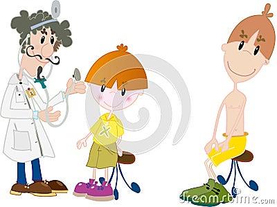 Dzieciaki przy lekarką