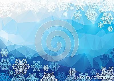 Wektorowy abstrakcjonistyczny poligonalny tło z płatkami śniegu